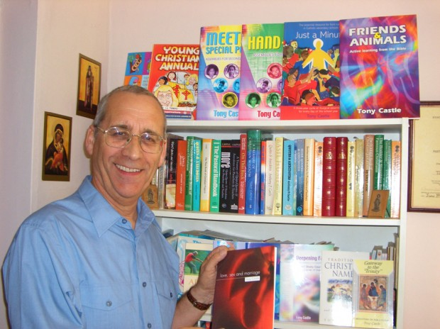 Tony Castle today, at home, with a number of his publications